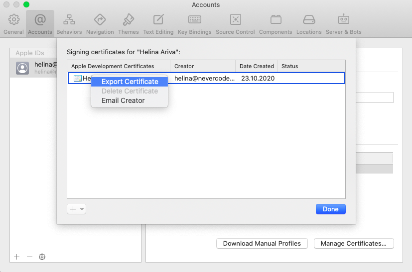Select Export certificate