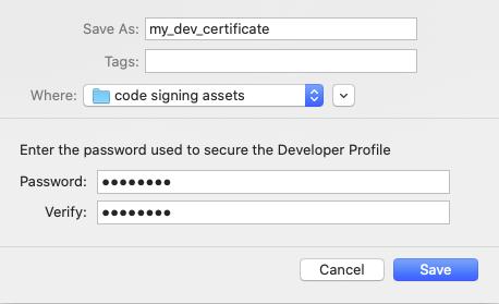 Save certificate