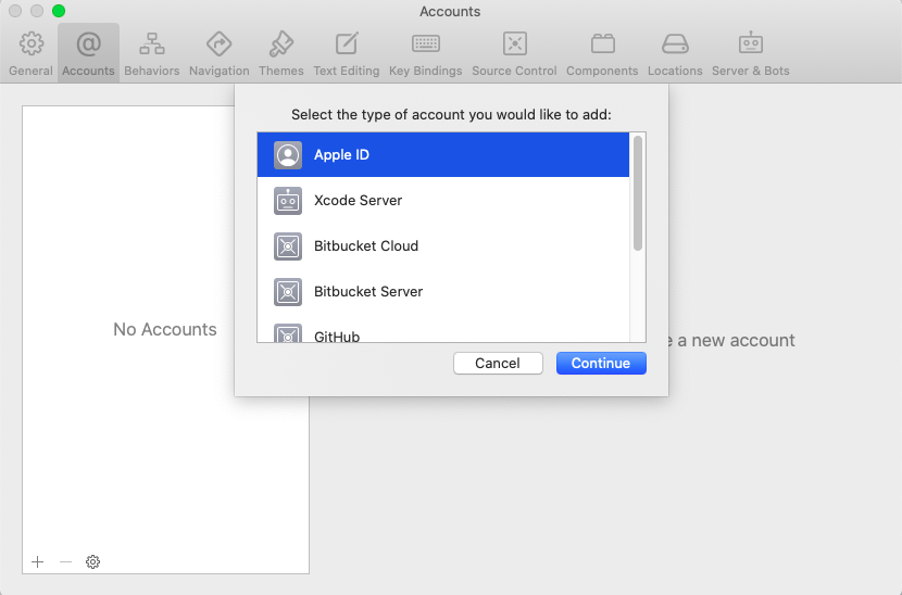 Select Apple Id as the account type