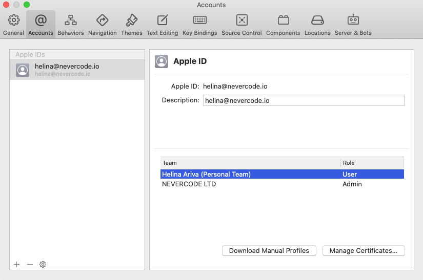 Select your personal or team account and then click Manage Certificates…